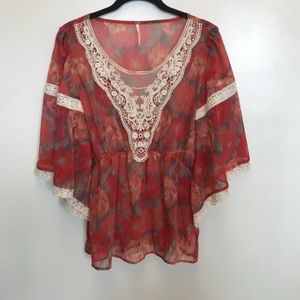 Free People | Coral Floral Crochet Boho Top